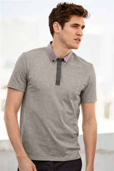Gingham Collar Polo