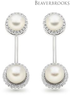 Beaverbrooks Silver Cubic Zirconia Freshwater Cultured Pearl Earring Jackets