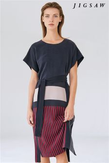 Jigsaw Midnight Grey Block Stripe Dress