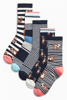 Sloth Pattern Socks Five Pack