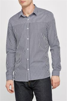 Long Sleeve Cut And Sew Gingham Shirt
