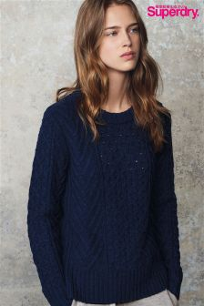 Superdry Navy Fera Cable Crew