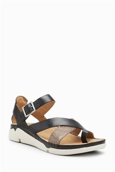 Clarks Black Leather Metallic Strap Trigenic Sandal