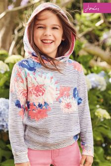 Joules Chalk Posy Stripe Marlston Hooded Sweatshirt