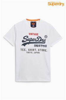 Superdry White Script Logo T-Shirt