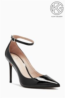 KG Black Patent Estha Pointed Ankle Strap Court Shoe