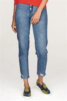 Distressed Button Fly Relaxed Jeans
