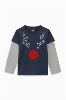 Rudolph Slogan Raglan Christmas Top (3mths-6yrs)