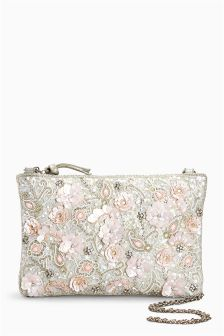 Embellished Zip Top Clutch Bag