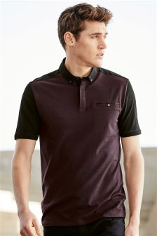Colour Block Woven Polo