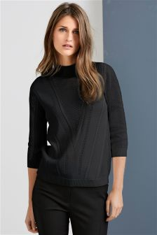 Pointelle Funnel Neck Sweater