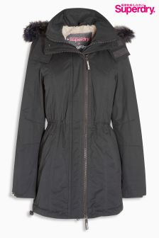 Superdry Grey Microfibre Tall Parka