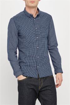 Long Sleeve Cut And Sew Check Shirt