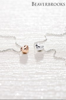 Beaverbrooks Silver And Rose Gold Plated Petite Heart Necklace