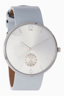 Oversize Dial Clean Strap Watch