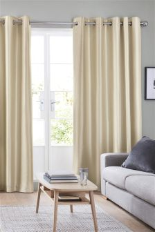 Faux Silk Lined Eyelet Curtains