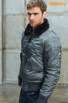 Superdry Faux Fur Collar Bomber Jacket