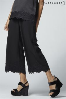 Warehouse Black Lace Trim Culottes