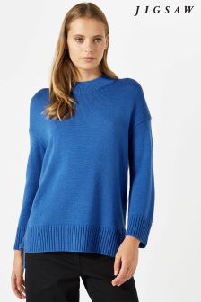 Jigsaw Blue Cropped Rib Back Jumper
