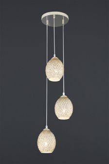 Champagne Glamour Glass 3 Light Cluster Pendant