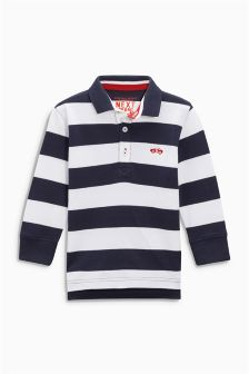 Stripe Long Sleeve Poloshirt (3mths-6yrs)