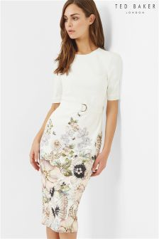 Ted Baker Ivory Layli Gem Garden Bodycon Dress