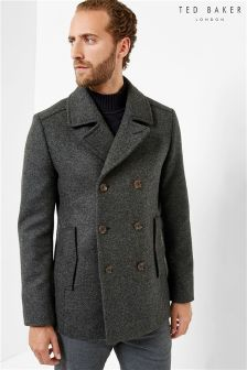 Ted Baker Double Breasted Charcoal Peacoat
