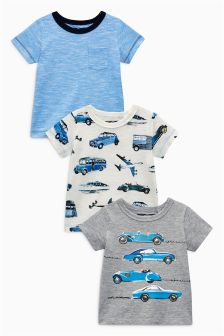 Short Sleeve Cars T-Shirts Three Pack (3mths-6yrs)