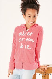 Abercrombie & Fitch Pink Velour Zip Hoody