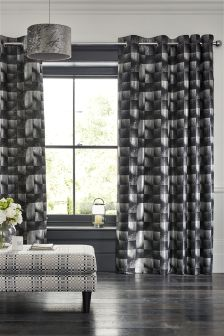 Black Metallic Square Geo Eyelet Curtains
