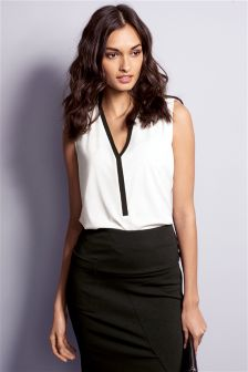 Notch Neck Sleeveless Top