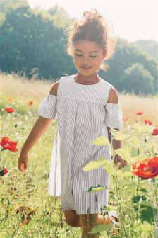 Stripe Cold Shoulder Dress (3-12yrs)