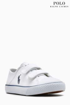 Polo Ralph Lauren White Darian Ez Canvas Velcro Trainer