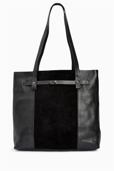 Leather Shopper Bag With Suede Panel