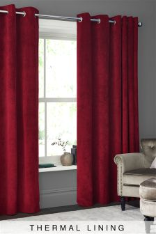 Thermal Soft Velour Eyelet Curtains