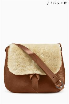 Jigsaw Tan Leather And Shearling Saddle Bag