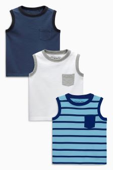 Blue Vests Three Pack (3mths-6yrs)