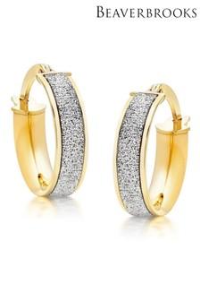 Beaverbrooks 9ct Gold Glitter Hoop Earrings