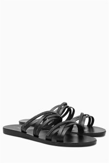 Leather Strappy Jewelled Sandals