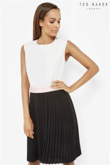 Ted Baker Black Pleated Contrast Dress