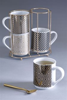 Set Of 4 Fitzroy Stacking Mugs