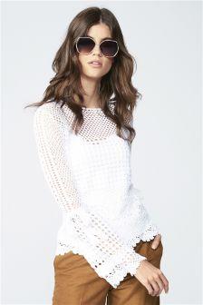 Crochet Flute Sleeve Sweater