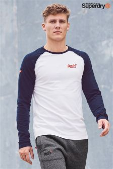 Superdry White Raglan Long Sleeve T-Shirt