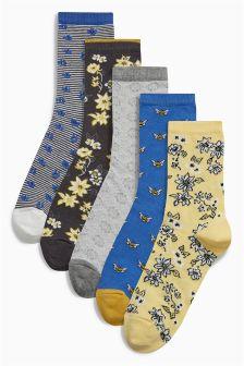 Pattern Ankle Socks Five Pack