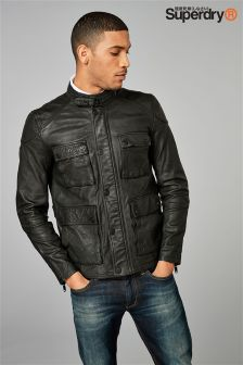 Superdry Black Leather Rotor Jacket
