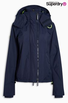 Superdry Nautical Navy/Lemonade Technical Hooded Pop Zip Windcheater