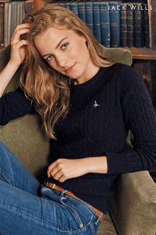 Jack Wills Navy Tinsbury Cable Crew Neck Jumper