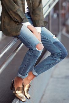 Relaxed Patched Jeans