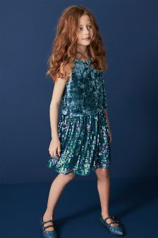 Velvet Sequin Dress (3-16yrs)