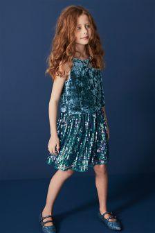 Velvet Sequin Dress (3-16yrs)
